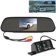 """5"""" LCD Car Rear View Mirror Monitor 7 IR Night Vision Backup Reverse Camera"""