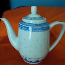 Tea Pot -Beautiful Made in China  white Blue Flower & Trim  7 INCH  (B)