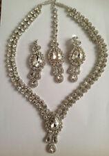 long silver indian bridal diamanté necklace earring and head piece /tikka set