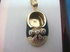 14K YELLOW GOLD ADORABLE BABY SHOE PENDANT WITH DIAMONDS AND ENAMEL 5.3 GRAMS