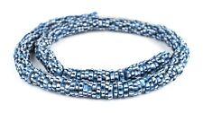 African Blue Chevron-Style Aja Krobo Beads 15mm Ghana Multicolor Disk Glass