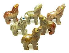CARVED - Tan DOLOMITE WOLF Spirit Animal Totem w/ Card - Healing Reiki Stone