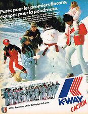 PUBLICITE ADVERTISING 104  1982  K-WAY  vetements de ski  EQUIPE DE FRANCE