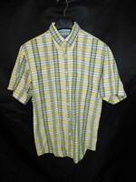 Pendleton M Blue Yellow Green Plaid Shirt Button Down Collar Short Sleeve Cotton
