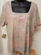 Suzee T Womens Plus Multi Color Roses/Words Shirt Top Size 20 / 22W