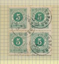 FF7085 Sweden 1877 5ö green perf 13 1/4 block of 4