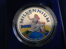 2000 Liberia Millennium Silver 20 Dollars Colorized in Holder E5480