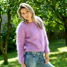 Sexy Hand Knitted MOHAIR Sweater Fuzzy Crew neck LILAC Jumper ❤ EXTRAVAGANTZA ❤