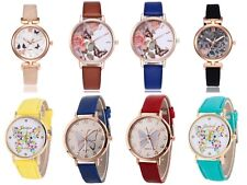 Ladies Women Fashion Butterfly Flower Floral  Vintage Style Watch PU Leather UK
