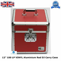 "2 X NEO Aluminium Red DJ Flight Case to Store 100 Vinyl LP 12"" Records STRONG HQ"
