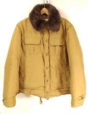 Woolrich Vintage Men's Coat Jacket - Wool Lined Khaki - Faux Fur Collar Large L