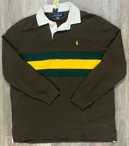 Polo Ralph Lauren Rugby Brown w Green Yellow Stripe Size Large NEW NWT L/S