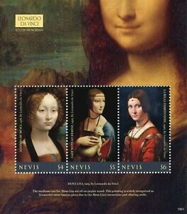 Nevis Art Stamps 2019 MNH Leonardo Da Vinci Mona Lisa Paintings 3v M/S
