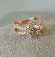 SALE 14K Rose Gold Finish/Silver Morganite Topaz Accent Halo Split Cage Ring sz8