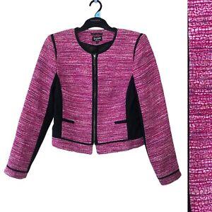 Per Una Speziale M&S Women Jacket UK 10 Black Pink Italian Biker Zip Up Formal