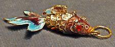 poisson chinois pendentif porte-bonheur métal émaillé articulé Bleu & grenat