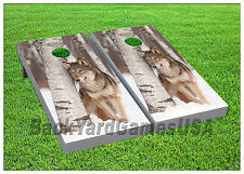 VINYL WRAPS Cornhole Boards DECALS Snow Wolf White BagToss Game Stickers 845