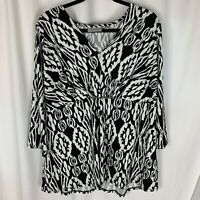 Avenue Women's Plus 18 20 Black White Print Blouse V Neck 3/4 Sleeve