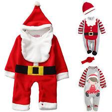 Bebè Bimbo Ragazza Natale Tutina Body Cappello Completi Babbo Festa Tuta Costume