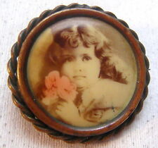 Victorian Painted / Overpainted Photograph Pin – Sweet Little Girl -Pink Flower