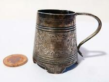 Antique 1884 Russian Silver Fine Engraved Miniature Tankard Vodka Cup UNUSUAL