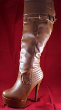 Madison by Shoedazzle Light Brown Platform Knee-High Women's Boot Size 7 (New)