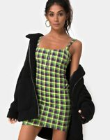 MOTEL ROCKS Farzi Bodycon Dress in Green and Purple Check  Small S  (mr30)