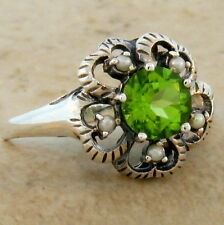 GENUINE PERIDOT PEARL ANTIQUE VICTORIAN STYLE 925 STERLING SILVER RING SZ 8,#380