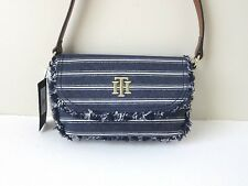 TOMMY HILFIGER Crossbody STRIPED NAVY BLUE WHITE Canvas Denim Shoulder Bag NEW