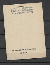 VIGNETTES CARNET COMPLET (20u en blocs x4) SOUSCRIPTION MONUMENT Mal JOFFRE luxe