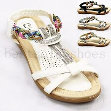 LADIES WOMENS DIAMANTE SANDALS FLORAL ELASTIC STRAPPY SUMMER BEACH SHOES SIZE