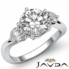 2ct Round Brilliant Cut Diamond Engagement Platinum Ring GIA F VS2 3 Three Stone