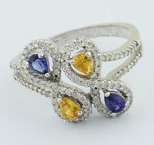 14K White Gold Ladies Diamond Ring With 2 Pear Shape Sapphire & 2 Golden Topaz