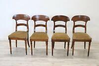 Quattro sedie antiche sedie in noce epoca Biedermeier Sec XIX GRANDE AFFARE