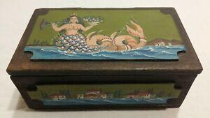 Folk painted box with MERMAID