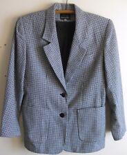 Vintage 1980s Womens Houndstooth Blazer Jacket Wool Blend Black & White Pockets