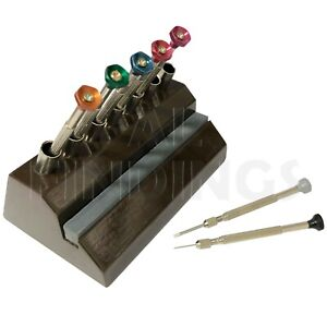 7 Screwdriver Storage stand Sharpening Stone Wooden Base WATCHMAKER Tool
