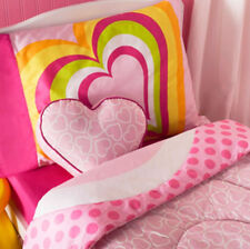 TODDLER BED SIZE - Little Miss Matched - Hearts Pink 4-Pc REVERSIBLE BEDDING SET