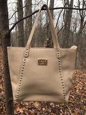 BEBE Beige Pebbled Faux Leather Large Zipper Tote Bag