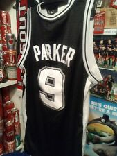 LOT + RARE men L black basketball NBA Spurs PARKER #9 Adidas jersey SAN Antonio