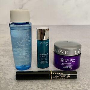 Lancome 4 Pc Gift Travel Set - Makeup Remover Sunscreen Serum Mascara