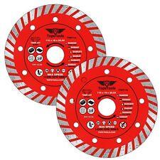 "2x Diamond Angle Grinder Turbo Brick Concrete Cutting Discs TopsTools 115mm 4.5"""