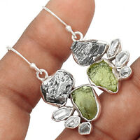 Moldavite & Herkimer Diamond 925 Sterling Silver Earrings Jewelry EE171554