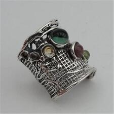 Hadar Designers Tourmaline Ring  6,7,8,9,10 Handmade 925 Sterling Silver (H 144)