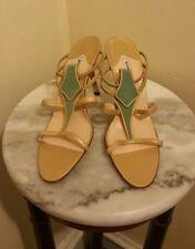 63b550740761 Manolo Blahnik Leather Sandal Heels Gold Green Size 38
