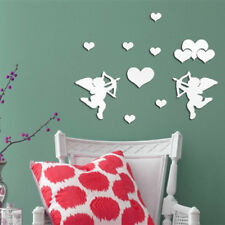 Mirror Removable Cupid Heart Decal Art Mural Wall Sticker DIY Decor Silver
