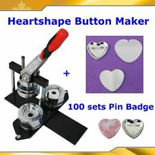"Kit!! Badge Button Maker Heart Shape Machine+100 Pinback Supplies 2-1/4"" 57mm"