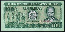 1980 MOZAMBIQUE 100 METICAIS BANKNOTE * AB 4869851 * UNC * P-126 *