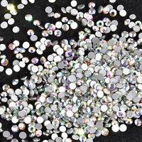 1400PCS Lot DIY Nail Art Tips Charm Flat Back Gems Crystal Glitter 3D Decoration
