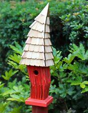 "Birdhouses - ""Cardiff"" Crooked Birdhouse - Red - Garden Decor"